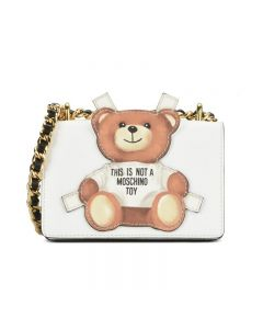 Moschino Cross Bear Women Small Leather Flap Shoulder Bag White