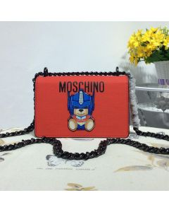 Moschino Transformer Bear Women Small Leather Shoulder Bag Red
