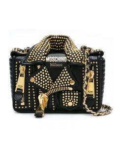 Moschino Studded Biker Jacket Women Leather Shoulder Bag Black