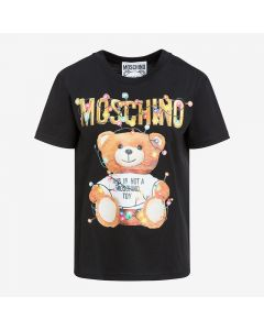 Moschino Christmas Teddy Women Short Sleeves T-Shirt Black