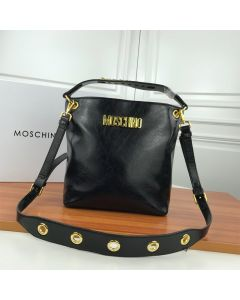 Moschino Logo Women Paten Leather Zip Bucket Bag Black