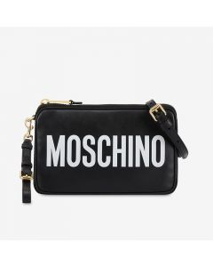 Moschino Contrasting Logo Women Leather Shoulder Bag Black