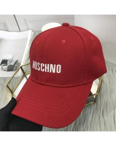 Moschino Embroidered Logo Women Cotton Cap Red