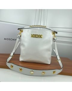 Moschino Logo Women Paten Leather Zip Bucket Bag White
