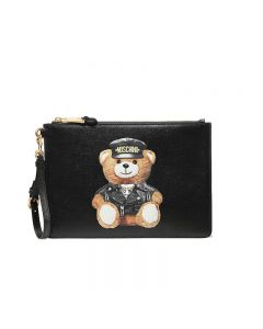 Moschino Loves Printemps Bear Women Leather Clutch Black
