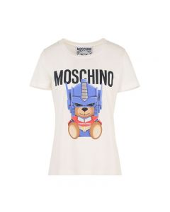 Moschino Transformer Bear Women Short Sleeves Slim T-Shirt White