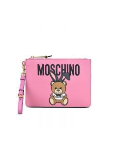 Moschino Playboy Bear Women Leather Clutch Pink