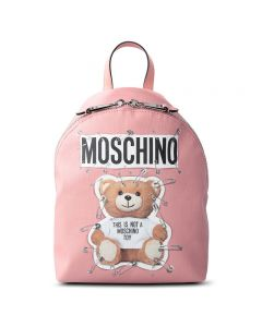 Moschino Safety Pin Teddy Women Medium Leather Backpack Pink