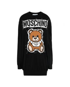 Moschino Safety Pin Teddy Women Long Sleeves Minidress Black