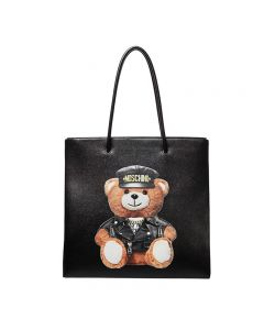 Moschino Loves Printemps Bear Women Leather Tote Black
