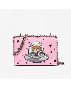 Moschino Ufo Teddy Women Small Leather Shoulder Bag Pink