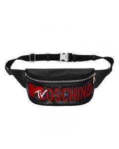 Moschino x H&M Embroidered Women Small Leather Waist Bag Black
