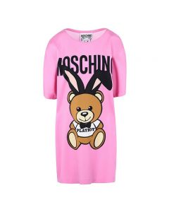 Moschino Playboy Bear Women Short Sleeves Short Dress Pink