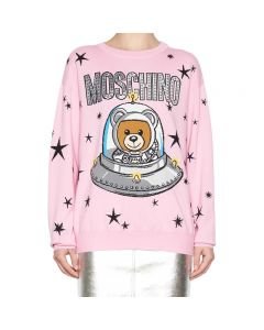 Moschino Ufo Teddy Women Long Sleeves Sweater Pink