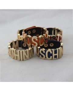 Moschino Logo Leathers Women Leather Bracelets