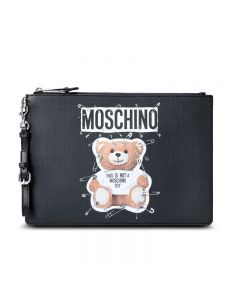 Moschino Safety Pin Teddy Women Leather Clutch Black