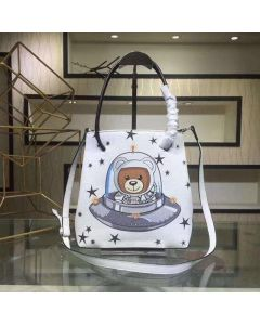 Moschino Ufo Teddy Women Leather Tote White
