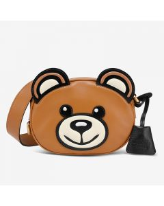 Moschino Iconic Teddy Bear Women Small Calfskin Shoulder Bag Brown
