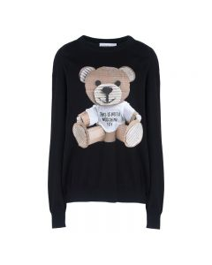 Moschino Paper Bear Women Long Sleeves Sweater Black