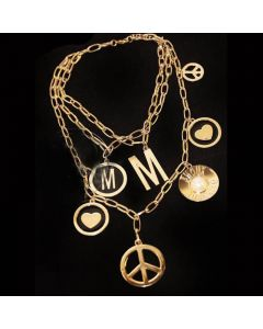 Moschino Multi-Symbols Women Chain Necklace Gold