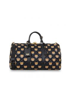 Moschino Teddy Bears Women Leather Travel Bag Black