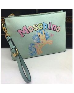 Moschino My Little Pony Women Small Leather Clutch Green