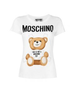 Moschino Cross Bear Women Short Sleeves Slim T-Shirt White