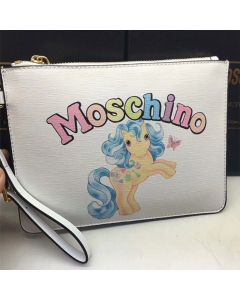 Moschino My Little Pony Women Small Leather Clutch White