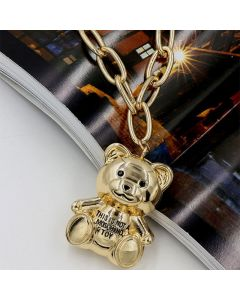 Moschino Teddy Bear Women Chain Necklace Gold