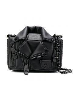 Moschino Biker Jacket Women Leather Shoulder Bag Black