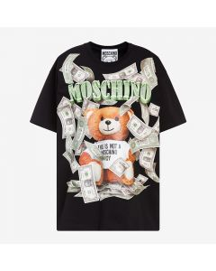 Moschino Dollar Teddy Bear Women Short Sleeves T-Shirt Black