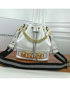 Moschino Logo Women Paten Leather Bucket Bag White