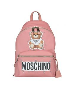 Moschino Safety Pin Teddy Women Large Leather Backpack Pink