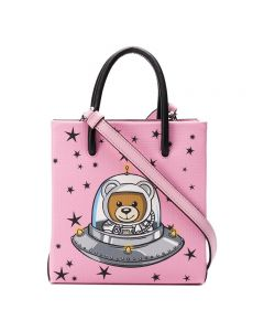 Moschino Ufo Teddy Women Leather Tote Pink