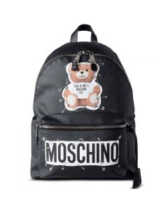 Moschino Safety Pin Teddy Women Large Leather Backpack Black