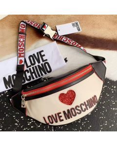 Love Moschino Sequin Heart Women Faux Leather Waist Bag White