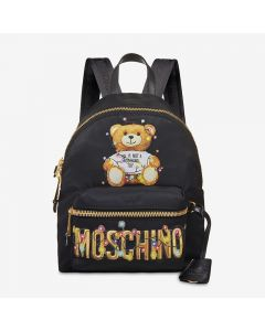 Moschino Christmas Teddy Women Leather Backpack Black