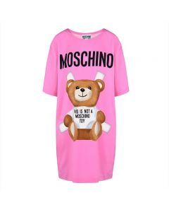 Moschino Cross Bear Women Short Sleeves Short Dress Pink