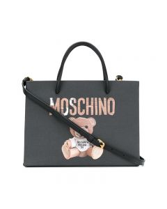 Moschino Paper Bear Women Leather Tote Black