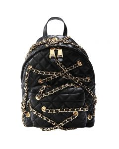 Moschino Chain Embellished Women Small Quilted Leather Backpack Black