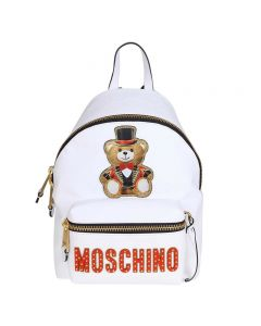 Moschino Circus Teddy Women Leather Backpack White