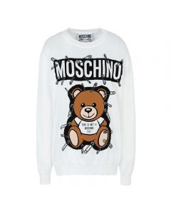 Moschino Safety Pin Teddy Women Long Sleeves Sweater White