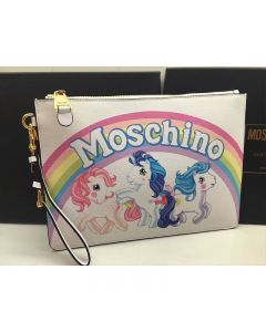 Moschino My Little Pony Women Large Leather Clutch White