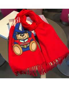 Moschino Transformer Bear Women Wool Scarf Red