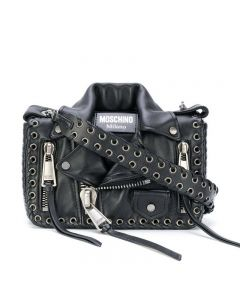 Moschino Eyelet Biker Jacket Women Leather Shoulder Bag Black