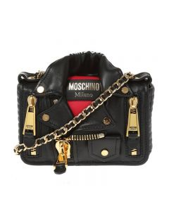 Moschino Skull Biker Jacket Women Leather Shoulder Bag Black