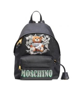 Moschino Dollar Teddy Bear Women Leather Backpack Black