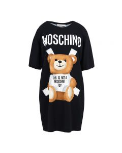 Moschino Cross Bear Women Short Sleeves Short Dress Black