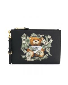 Moschino Dollar Teddy Bear Women Leather Clutch Black