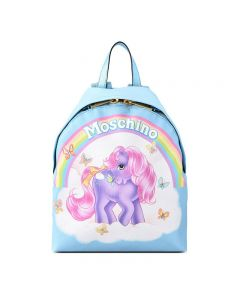 Moschino My Little Pony Women Medium Leather Backpack Sky Blue